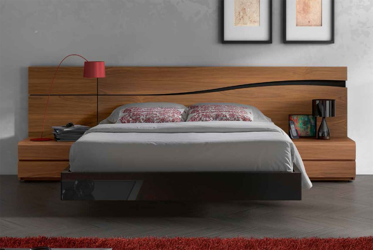 Lacquered made in spain wood high end platform bed with for Modern wooden bedroom designs