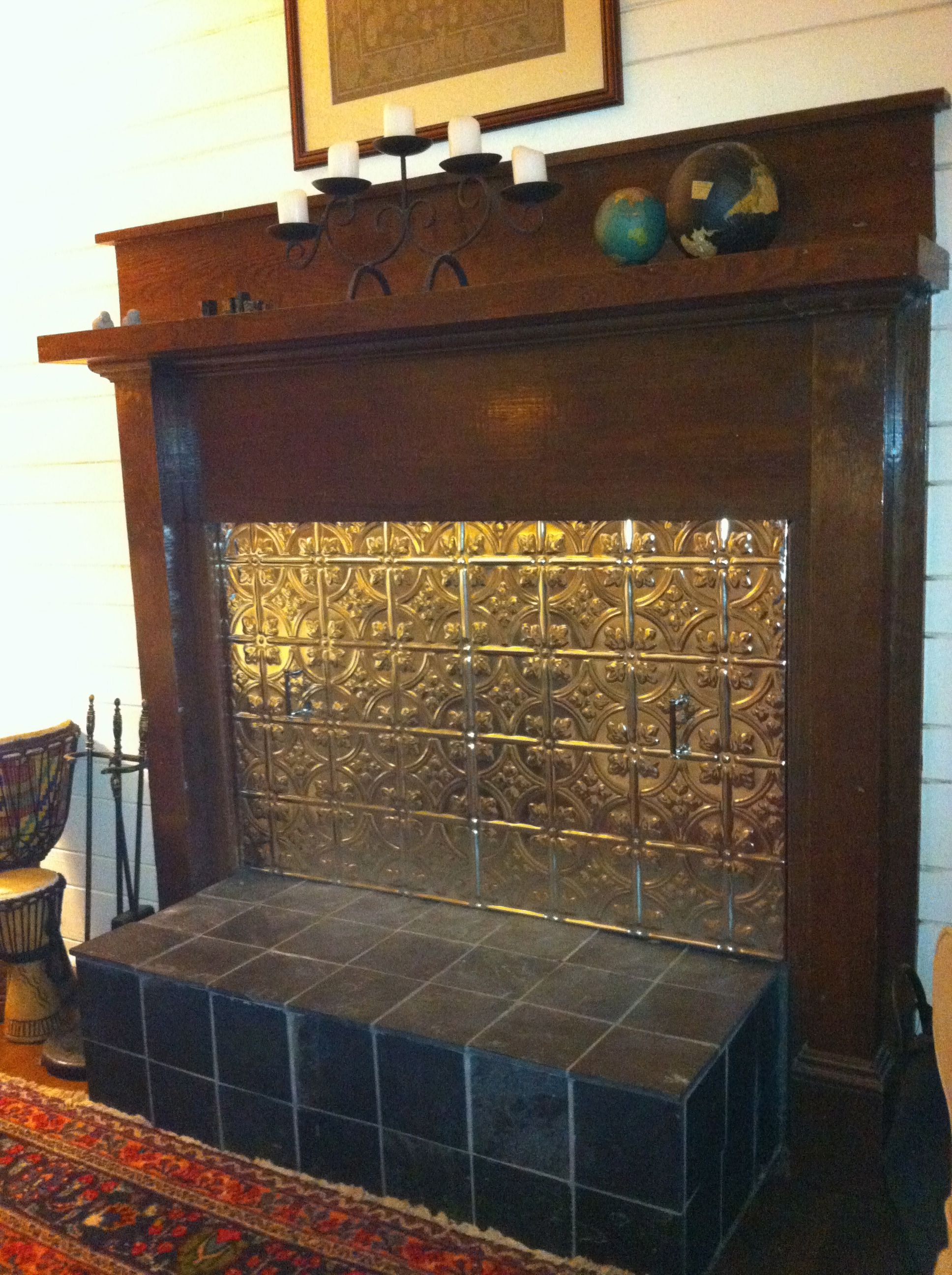 I made a fireplace cover out of cement backerboard and - Ideas to cover fireplace opening ...
