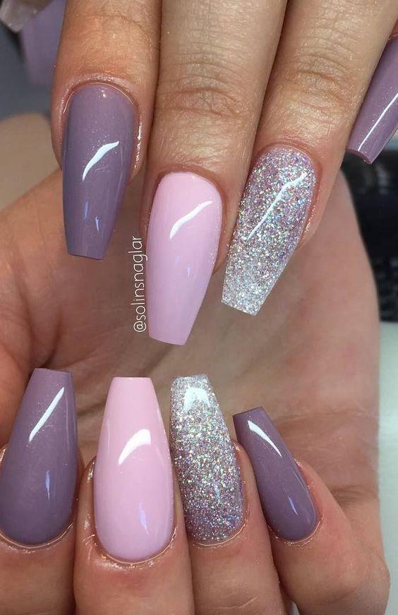Blueberry Milk Pastel Pink Och Glitterombre I Lila Silver