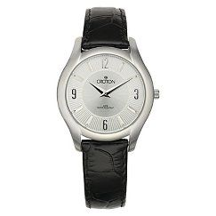 Women's Croton Stainless Steel Watch with Leather Strap - Silver/Black