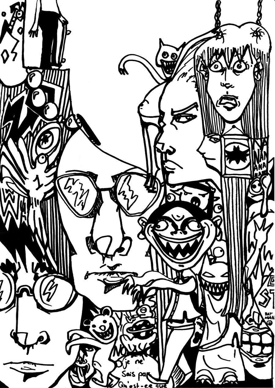 Cartoon graffiti printable coloring page free for teenagers ...