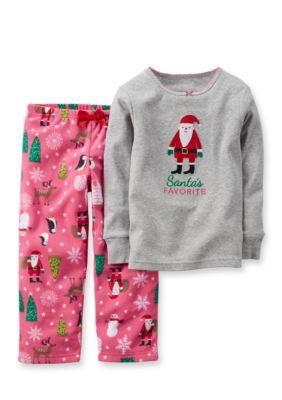Carters 2-Piece Santas Favorite Top and Printed Fleece Pants Pajama ... 8ccd8a38c