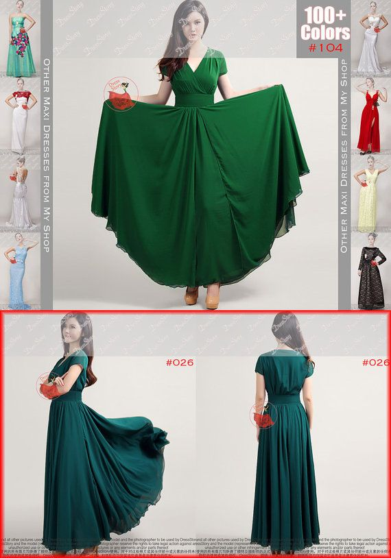 29e5c54e5 Forest Green Maxi Dress with V Neck and Cap Sleeves   High Waist Yoke -Long  Green Dress-Dark Teal Maxi Dress-Prom Dress-100 Colors-157