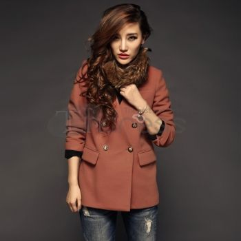 Wool Coats-V-neck long-sleeved double-breasted Ms. coat
