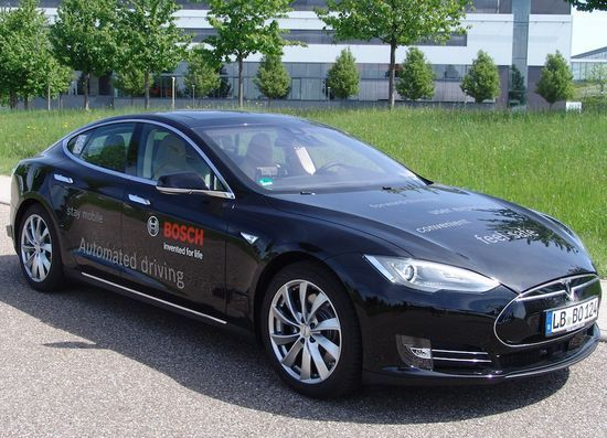 Bosch Takes TESLA Model S For Automated Driving Tests. (2015)