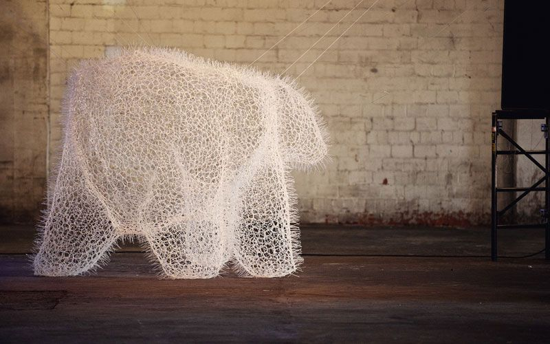 polar bear made entirely from zip ties.