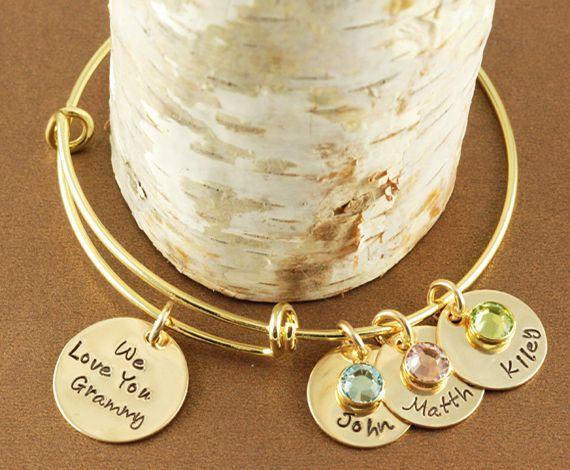We Love You Grandma Gold Bangle Bracelet Alex And Ani Inspired Annie Reh Designs
