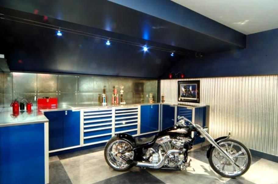 Classy Blue And White Garage