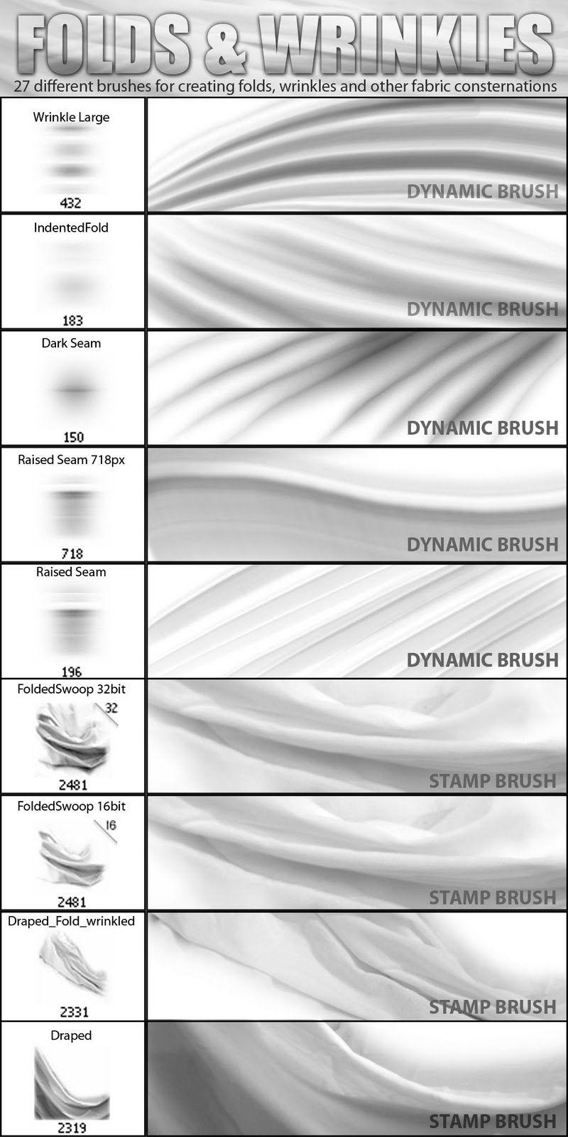 Suztv: Folds and Wrinkles Photoshop Brush set | Texture