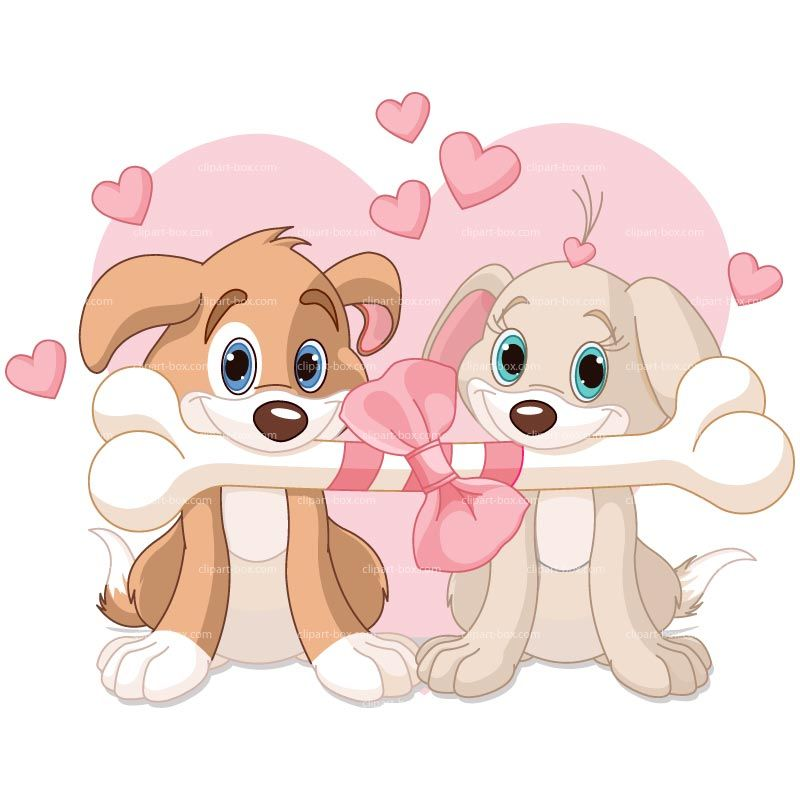 Clipart Dogs Sharing Bone Royalty Free Vector Design Dog Valentines Dog Vector Dog Illustration
