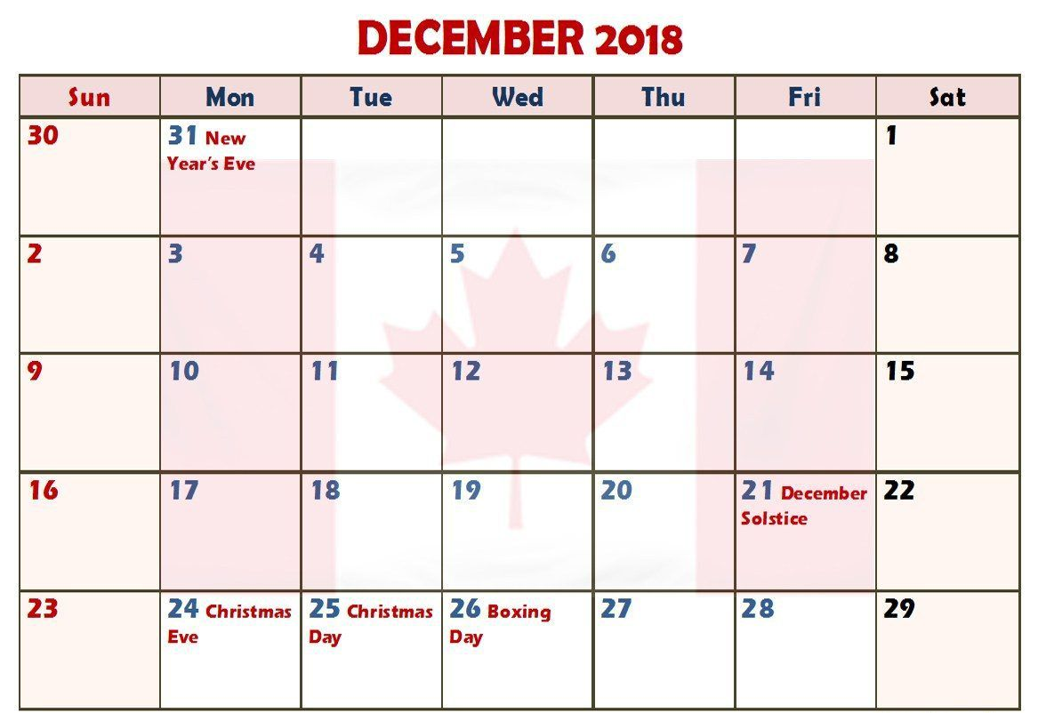 December Calendar Canada Printable With Holidays