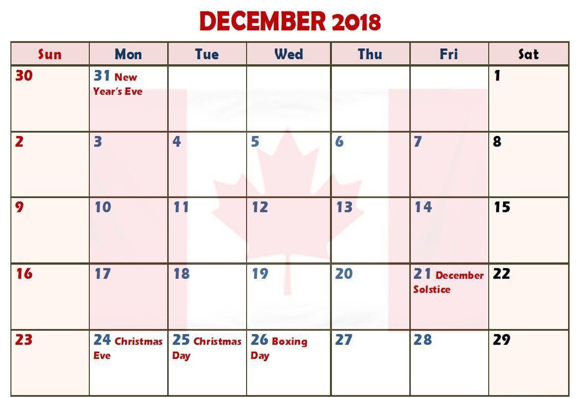 December Calendar Canada Printable With Holidays