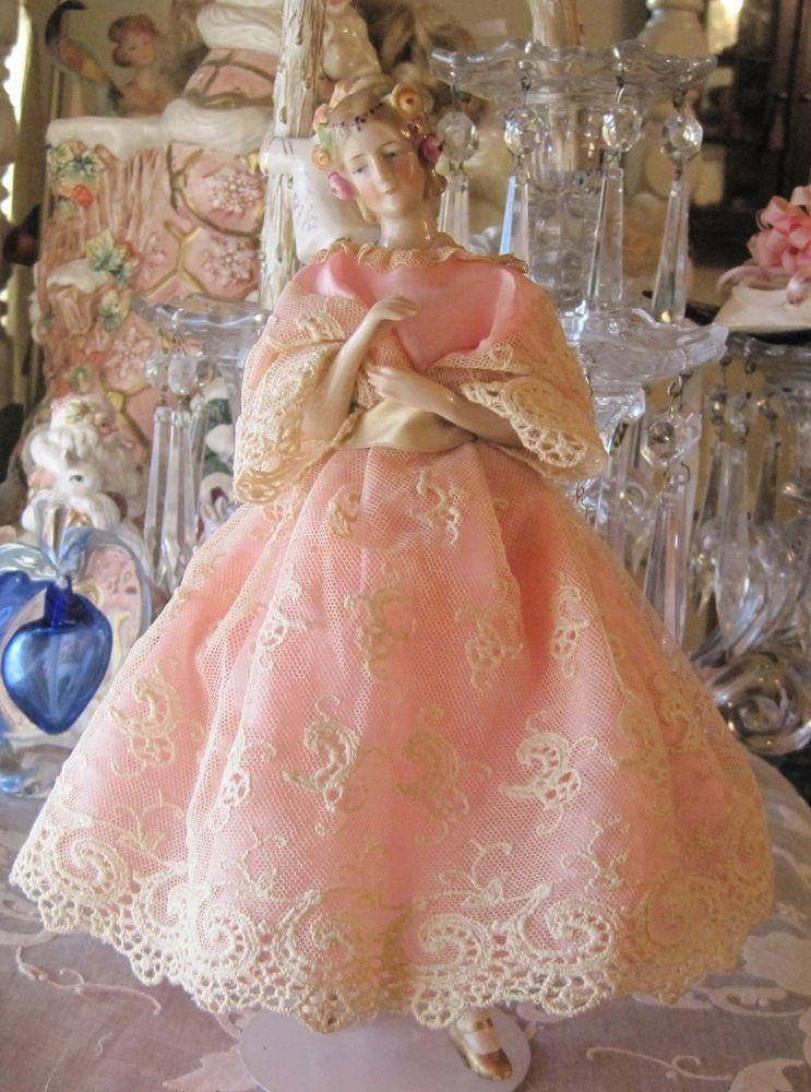 Elegant Glazed Porcelain German half doll rare jointed ...