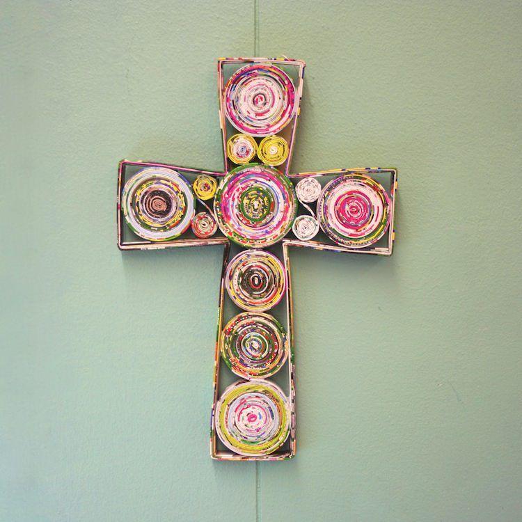 Recycled Magazine Cross - Vietnam