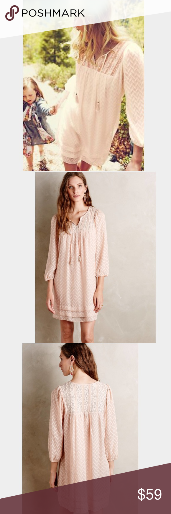 f2643e39a0f43 One September Anwen peasant dress in blush Excellent condition! Boho style peasant  dress in a gorgeous blush color. Anthropologie Dresses