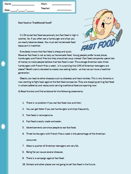 Fast Food Reading Comprehension Worksheet Reading Comprehension