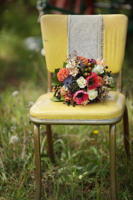 vintage chair. flowers by The Wooly Thistle. Photography by Amy Karp