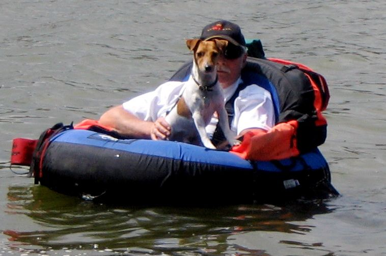 Our Jack Russell loves to ride the float tube when my husband fly fishes. Has a fit until he gets his way.