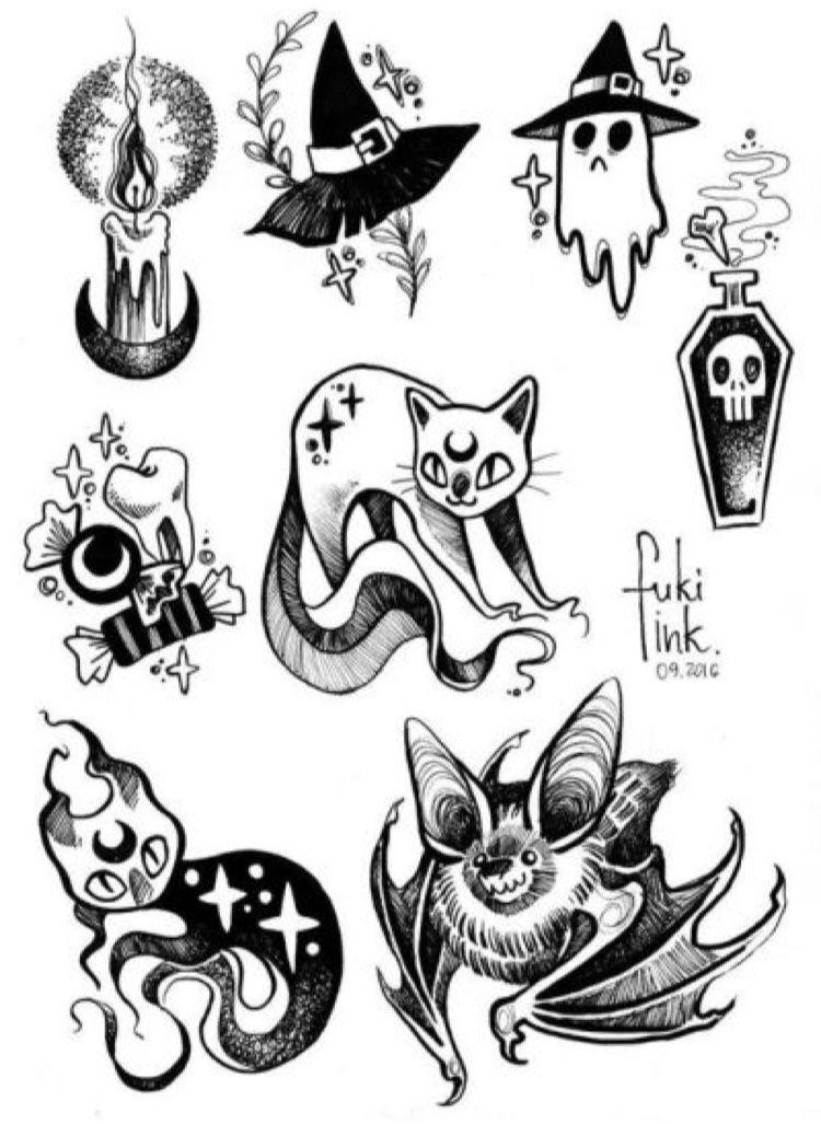 Tattoo Flash Art Black And White Guitar: Halloween Tattoos, Goth Tattoo, Witch Tattoo