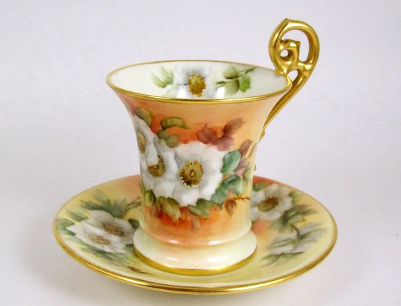 Antique Tea Cup T & V Limoges Hand Painted by CuteAndSweetVintage
