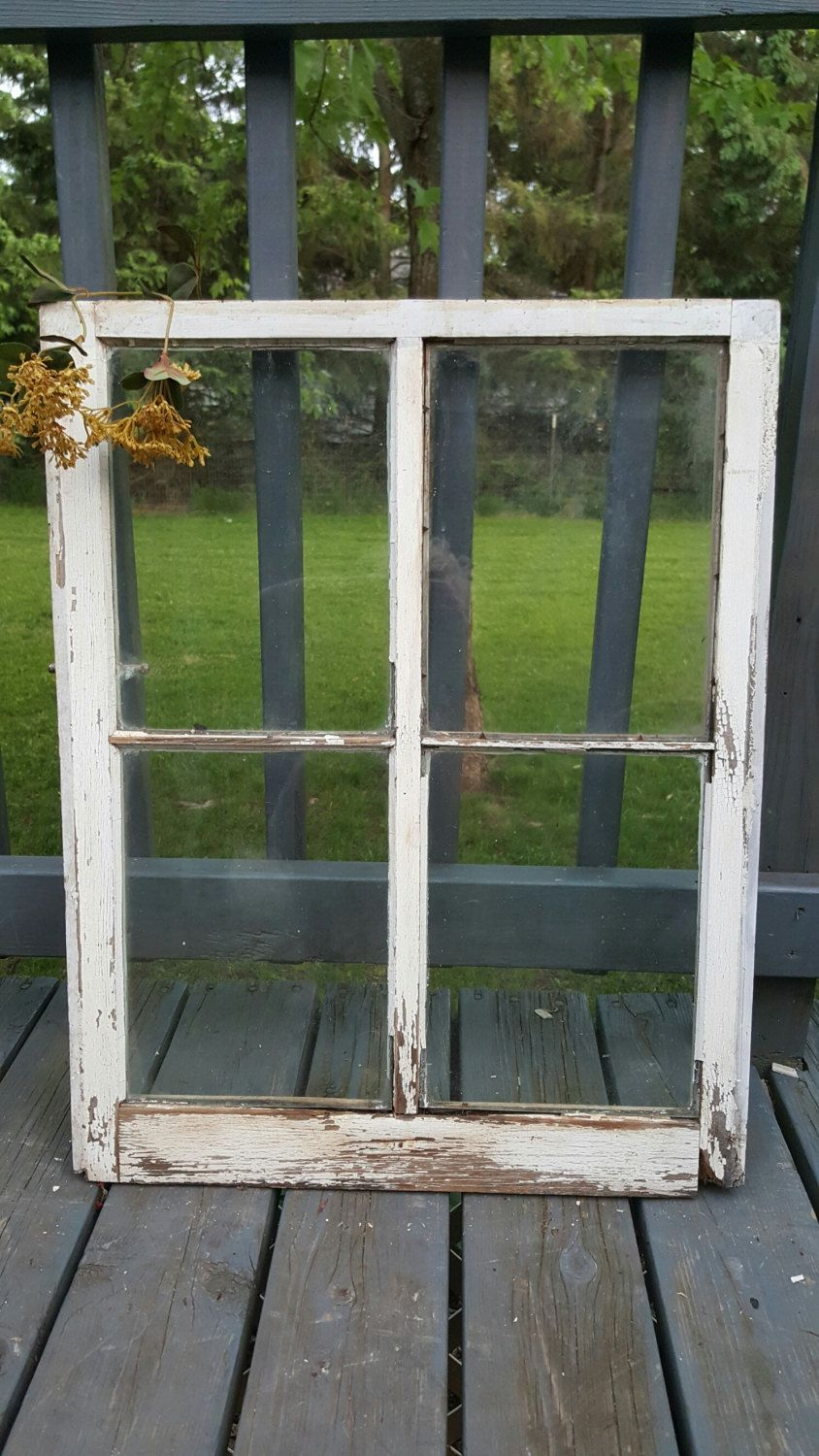 Vintage Wood Window Window Frame Farmhouse Cottage Decor Old Wood Window Old Window 4 Pane Barn Window Primitiv Window Frame Vintage Wood Cottage Decor