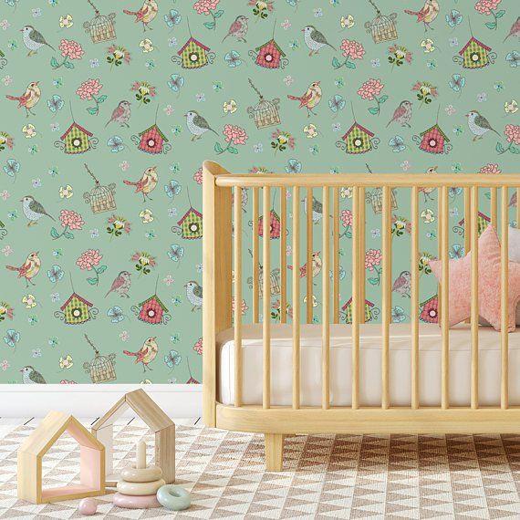 Vintage Bird Wallpaper, Birds Wallpaper, Nursery Decor, Nursery Wallpaper,  Floral Wallpaper, Texture