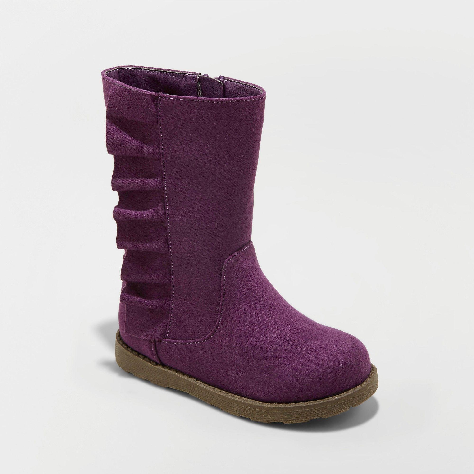 Toddler Girls' Reva Ruffle Boot Cat & Jack Purple 6