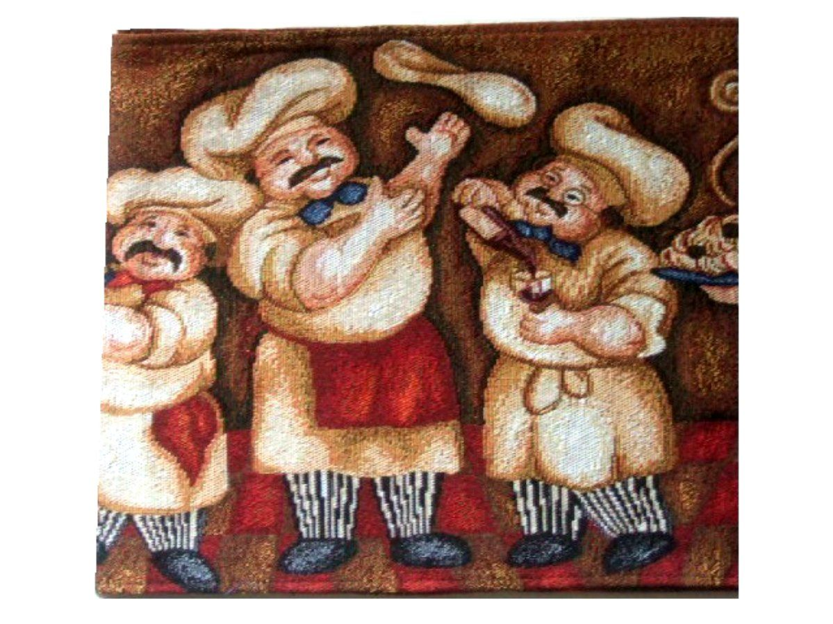 fascinating Fat Chef Table Runner Part - 7: Fat Italian Chefs Tapestry Table Runner Nice table runner featuring Italian  chefs with spaghetti, pizza, and wine. $21.95
