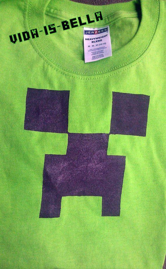 Minecraft Creeper Tee Shirt For Children By Vidaisbella On Etsy