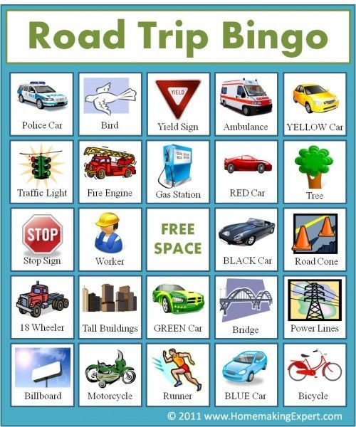 road trip bingo keep the little ones entertained with these free printable travel bingo cards they simply look for things around them like road signs