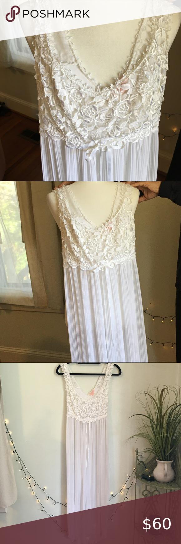 Vintage White Lace Pleated Nighty Slip Dress Lace Slip Dress White Lace Dresses [ 1740 x 580 Pixel ]