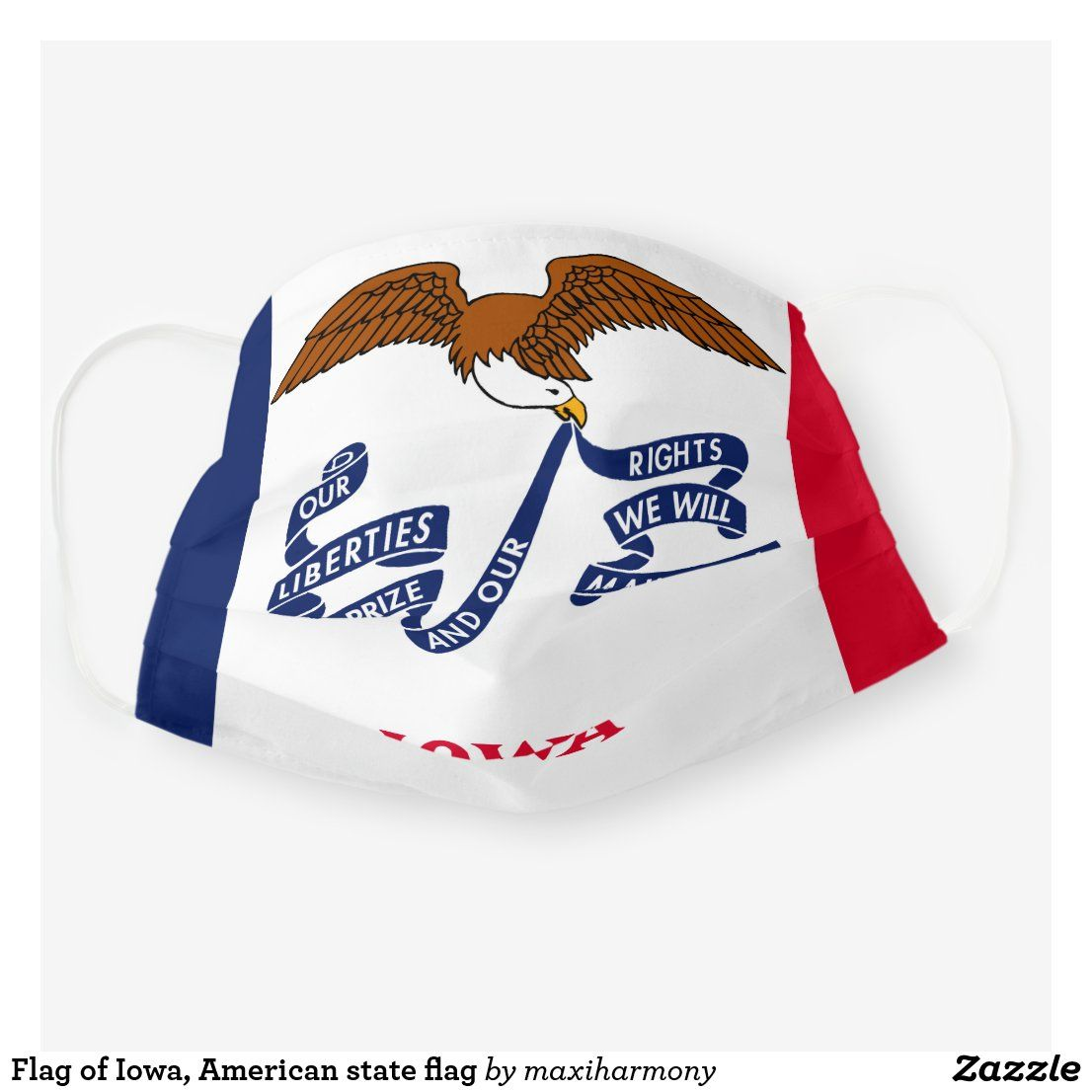 Flag Of Iowa American State Flag Cloth Face Mask Zazzle Com In 2020 American State Flags Face Mask State Flags