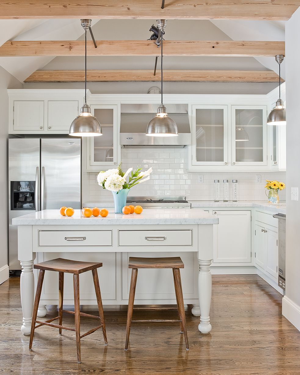 Modern kitchen design with gray walls paint color cathedral ceiling