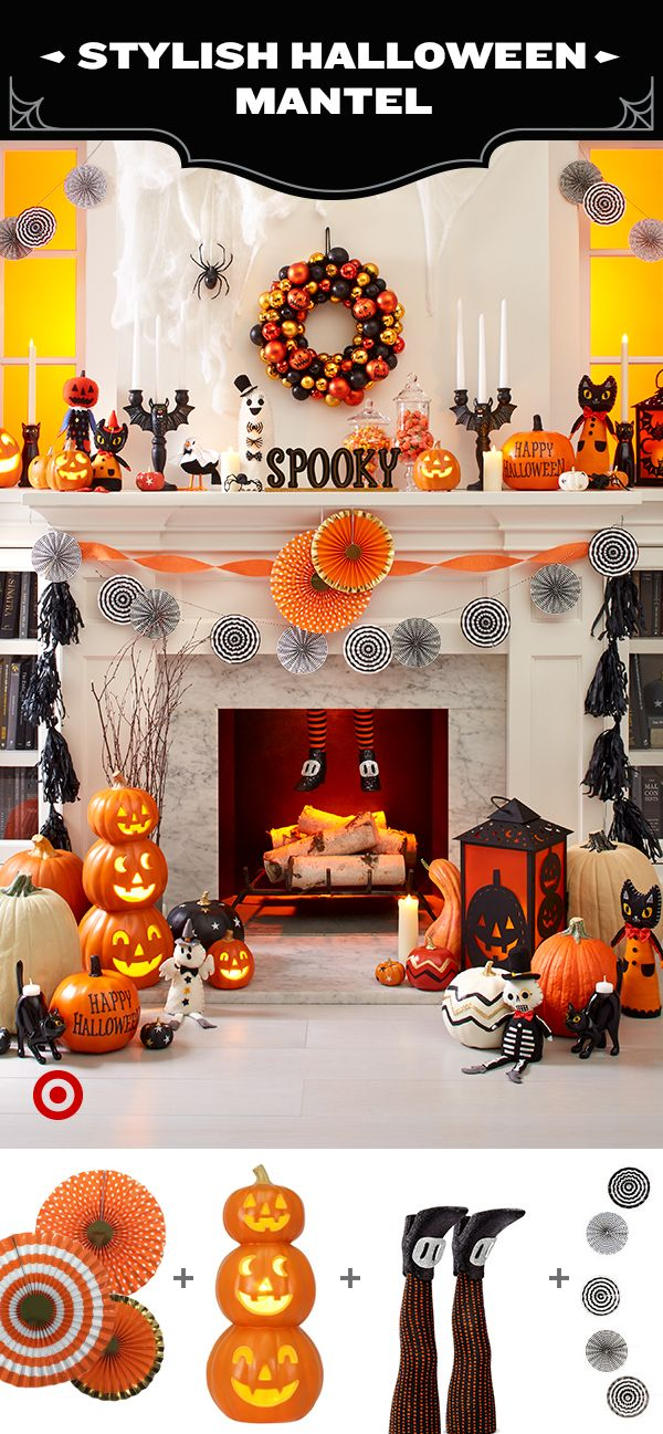 Classic colors, seasonal icons and sweet characters fill out this festive fall scene. From plush figurines to happy jack o' lanterns and friendly black cats, this scene comes to life around an orange-and-black ornament wreath. Looking for more fun flare? Add in a few Spritz streamers and decor elements to put the 'party' in Halloween Party.