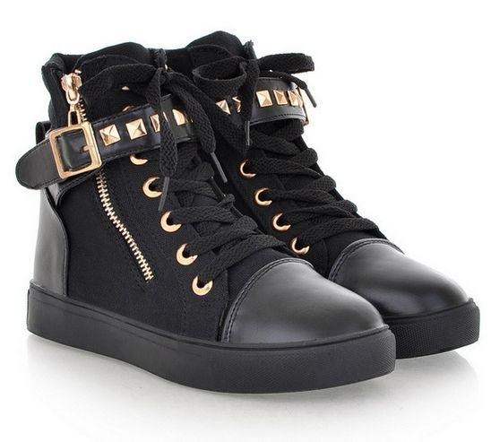 Autumn 2014 New Women's Rivets Boots Canvas Shoes Rivet Women Casuals Zipper Canva Sport Buckle Sneakers Shoelace Anti-Slip Shoe
