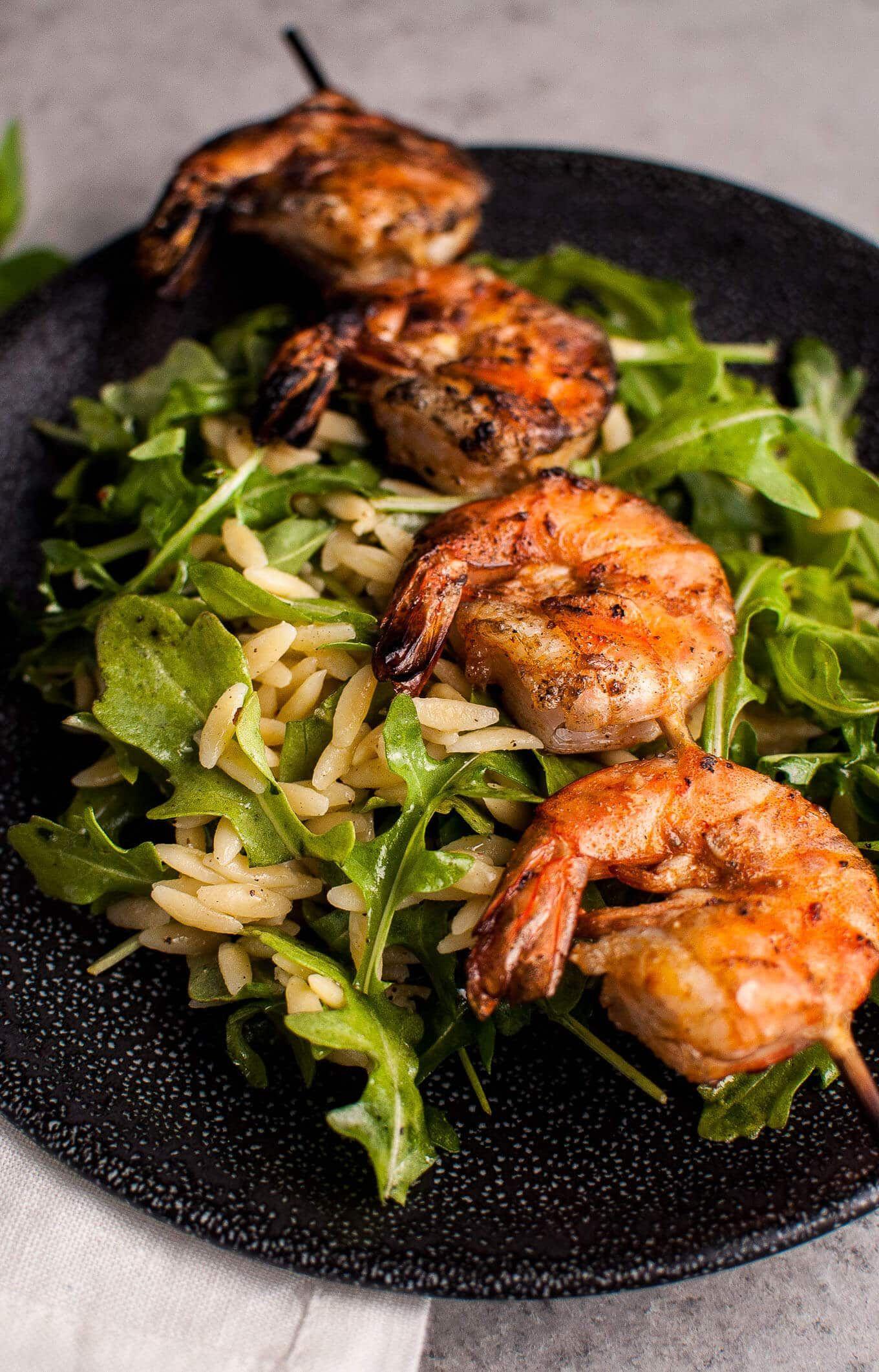 Grilled Shrimp, Orzo, and Arugula Salad • Salt & Lavender