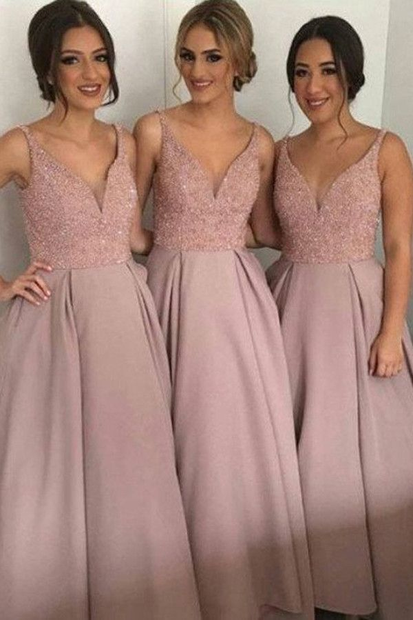 Dusty Rose Long Bridesmaid Dresses, A-Line V-Neck Bridesmaid Gown ...