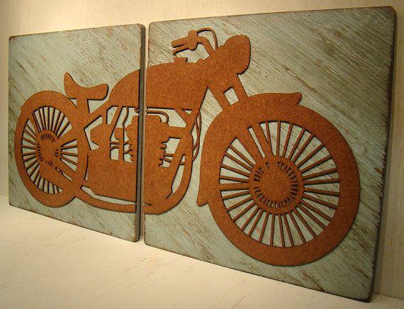 Harley Davidson Wall Decor vintage motorcycle decor, rustic sign, motorbike sign,vintage sign