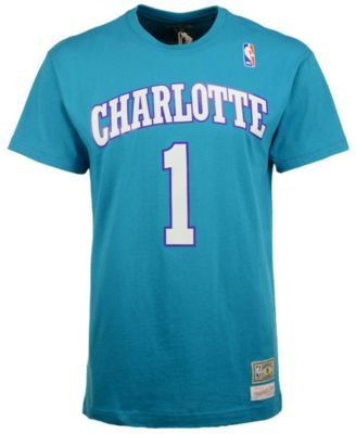 Mitchell   Ness Men s Muggsy Bogues Charlotte Hornets Hardwood Classic  Player T-Shirt - Blue L 530b1c7b3