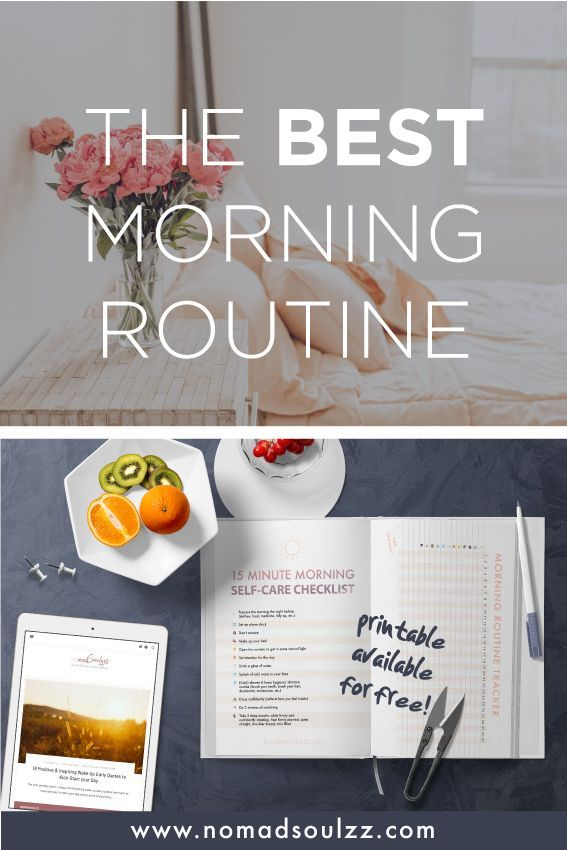 The Best Morning Routine Self-Care Checklist! Only 15 minutes! #morningroutine
