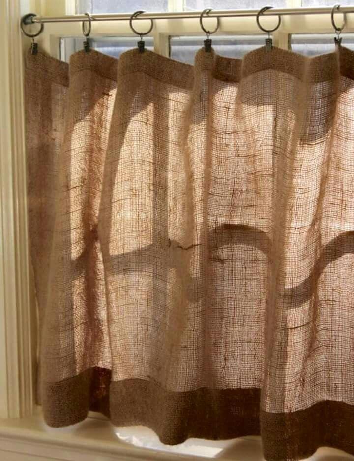 Cortinas de arpillera mi casa pinterest cortinas de - Cortinas cocina rustica ...