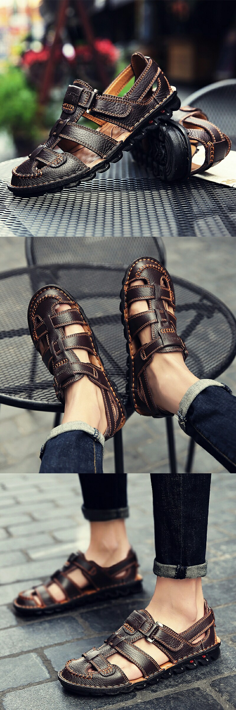 2e02f6cbccaf3 Amazon Men's Casual Outdoor Strap Summer Fisherman Leather Sandals ...