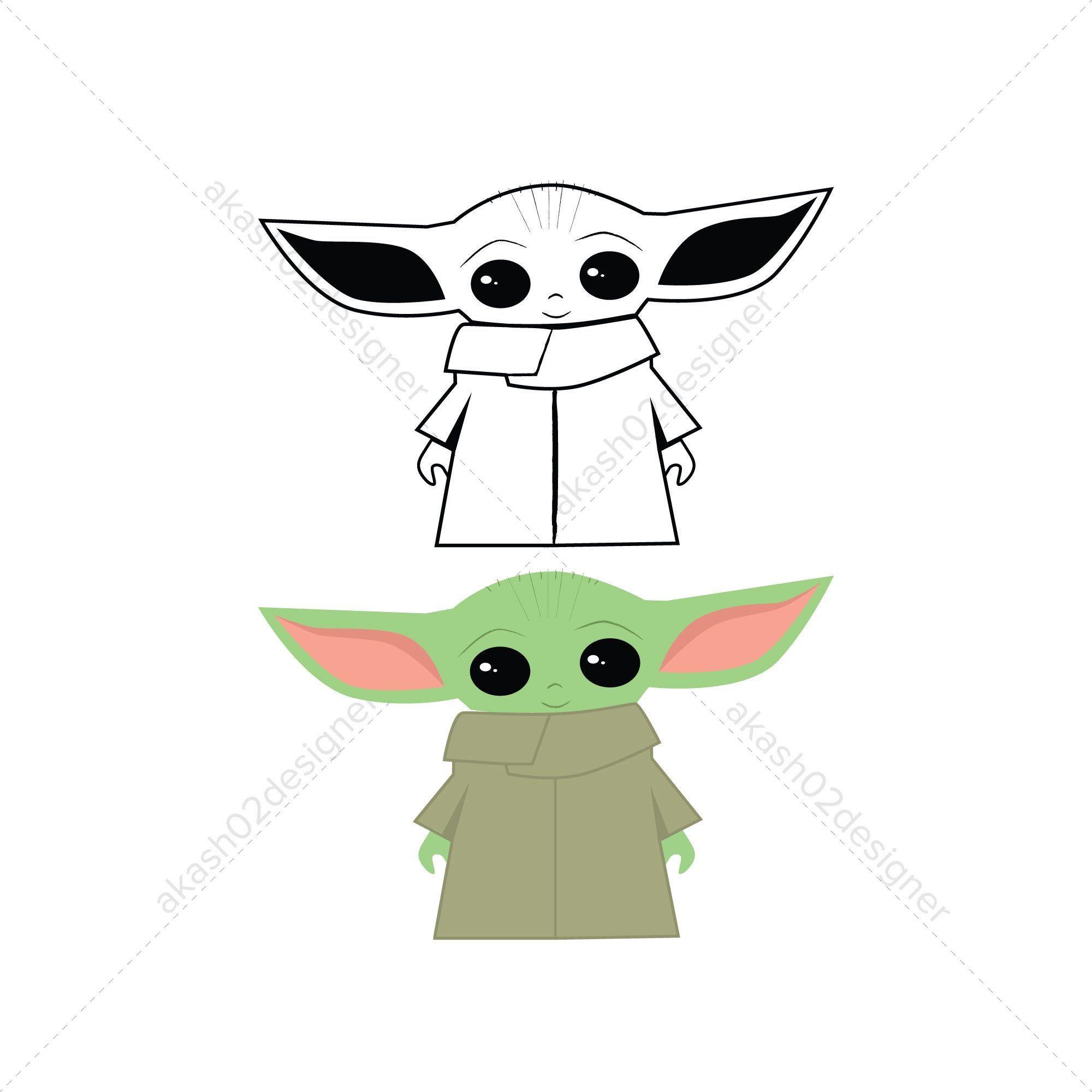 Super Cute Baby Yoda Svg Png Jpeg Ai Eps Digital File Etsy In 2021 Yoda Drawing Yoda Png Yoda Clipart
