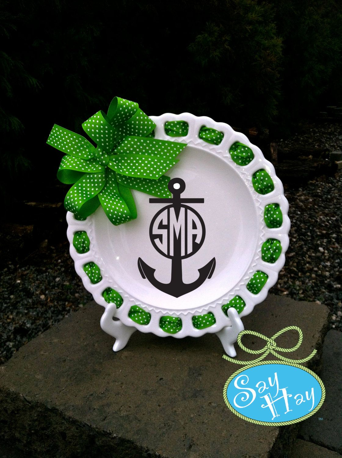 White ceramic plates for crafts - Monogram White Ceramic Ribbon 9 Inch Plate With Scalloped Edge And Personalized