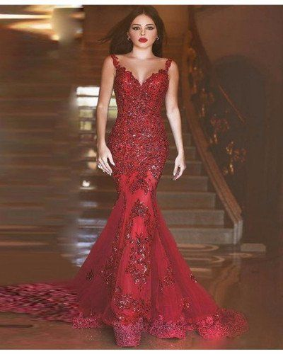 A25-Luxurious Burgundy Mermaid Deep V-Neck Beading Appliques Backless Prom  Dress 3ad123789bd7