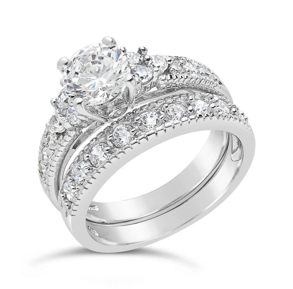 Fancy Faux Cubic Zirconia Wedding Ring Set Balour