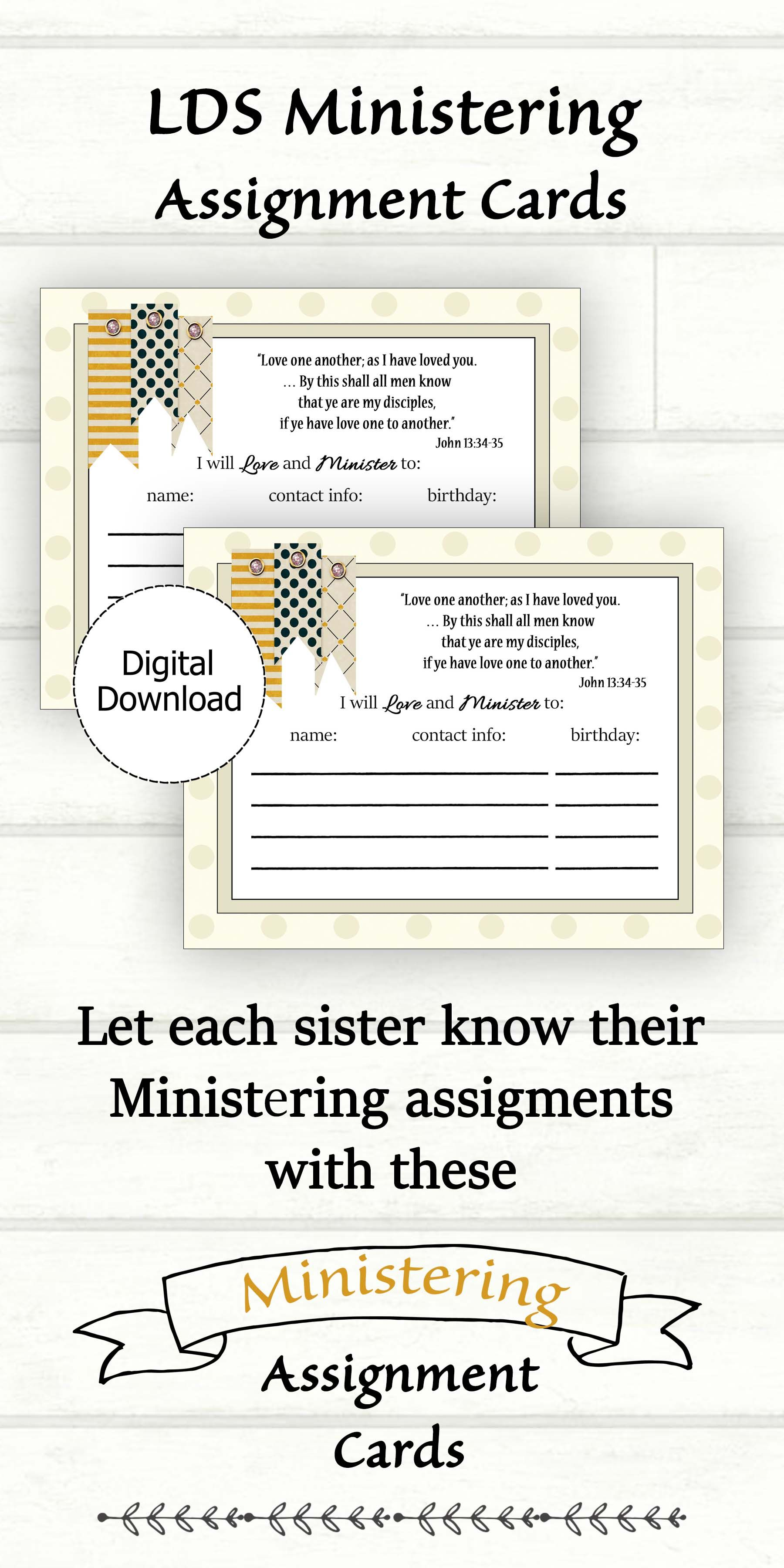 Ministering Assignment Card Printable for Ministering