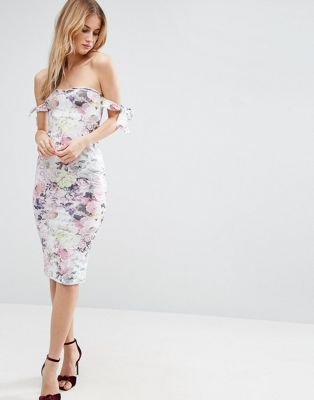 104697afb29 ASOS Bow Off Shoulder Midi Dress in Floral Print
