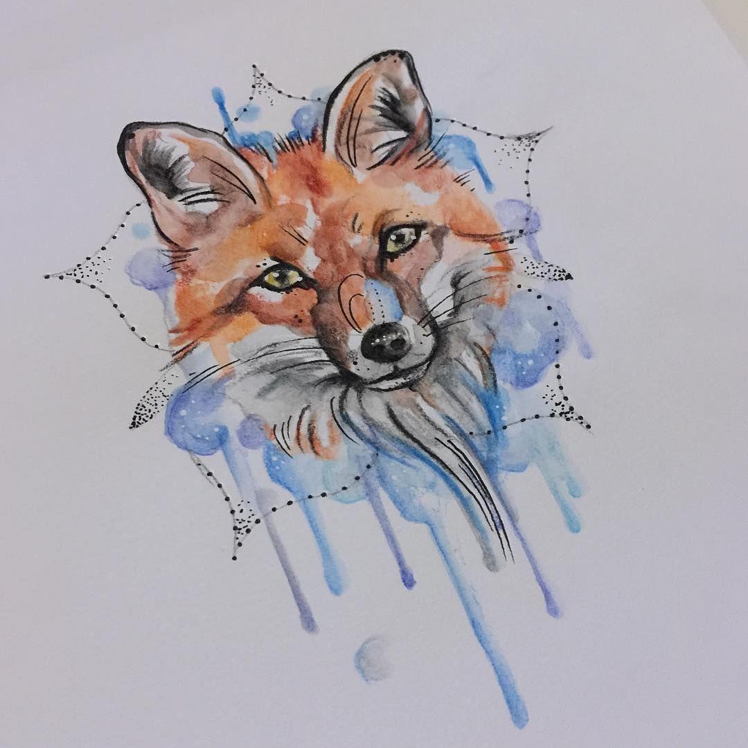 Watercolor Fox Watercolor Fox Tattoos Fox Tattoo Design Fox Artwork