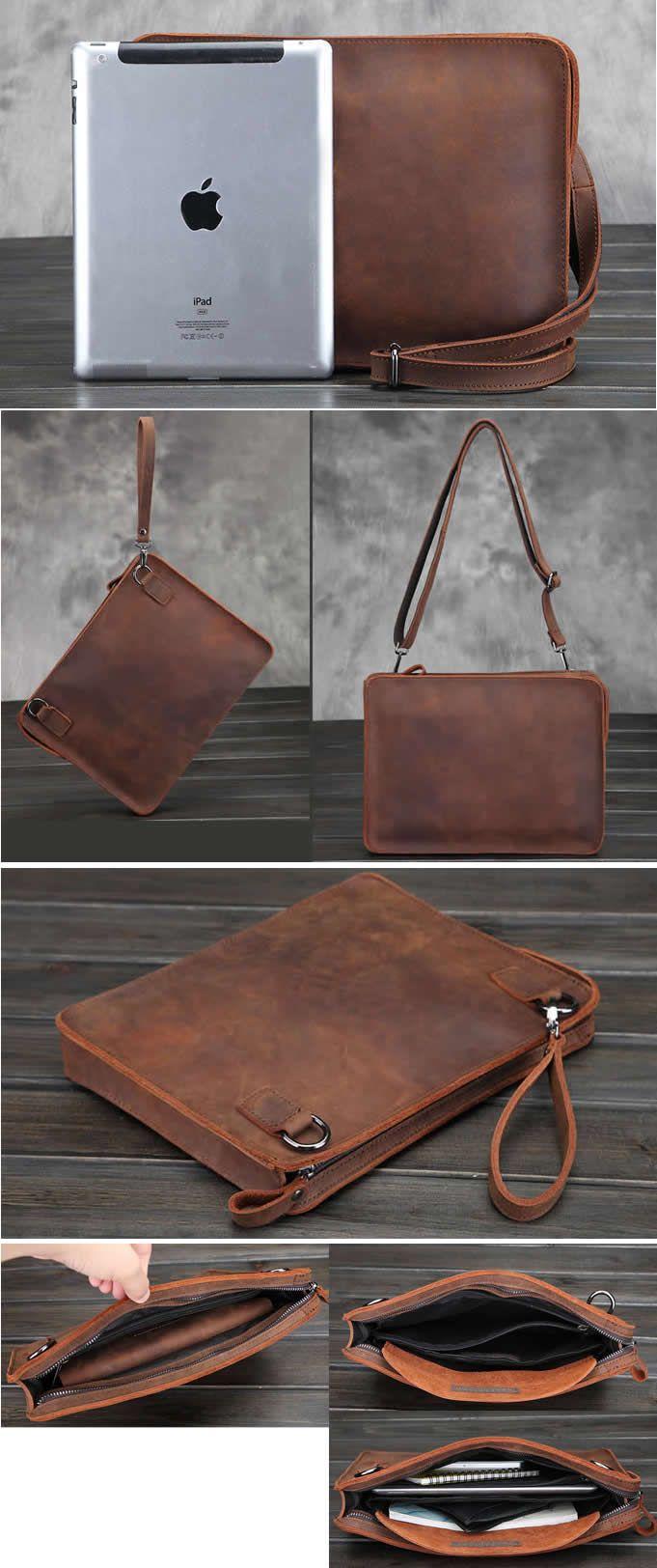 13 Inch Genuine Leather Cowhide Shoulder Bag Messenger Satchel Tablet Handbag